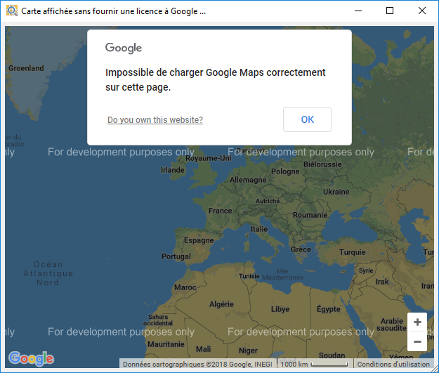 google maps api for development purposes only