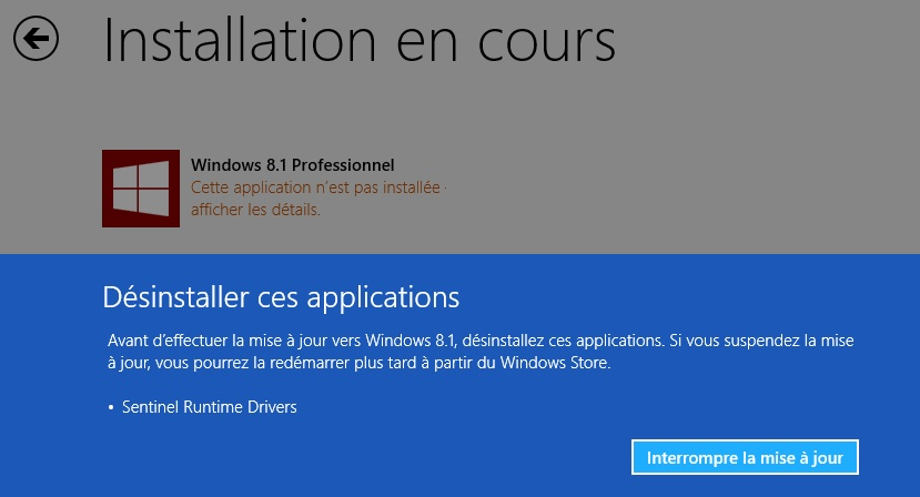 Nouvelle version 8.1 de Windows : mise à jour des pilotes Safenet/Hasp requise !