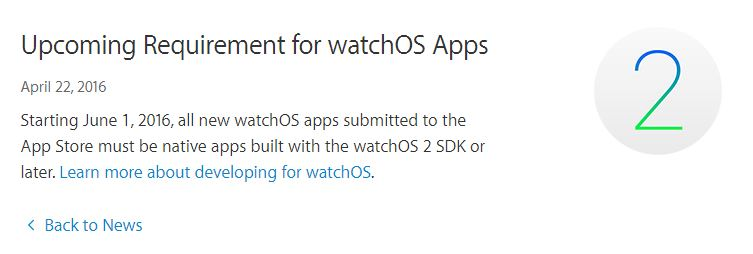 Apple Watch - Impact sur les applications WINDEV Mobile 21 de l'obligation Apple d'utiliser le SDK watchOS 2 à partir du premier juin 2016 ?