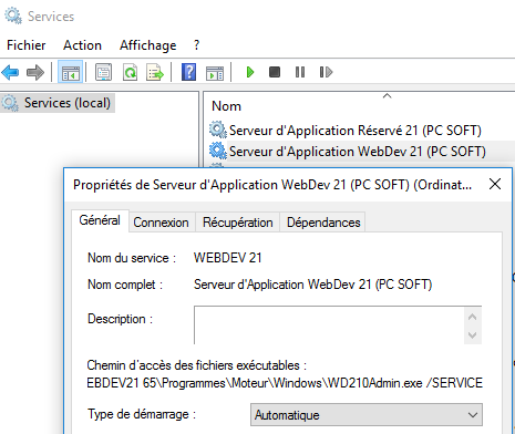 Installer l'administrateur du serveur d'application de WEBDEV en service Windows