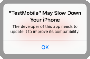 "Test d'une application iOS avec le simulateur de Xcode 8.2 et message ""improve compatibility""..."